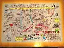 スタッフ手作りの地図