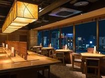 創作和食料理「旅籠茶家かやかや」では夜景を見ながら夕食もお召し上がりいただけます