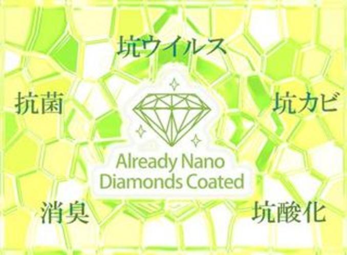 「ナノダイヤモンド触媒」個別空調に抗菌物質を塗布しています
