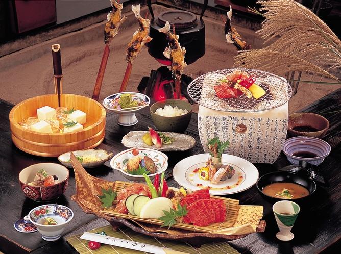 ご昼食イメージ(豊後牛と大分県産ハーブ鶏の炭火焼)