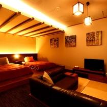 【特別室】露天風呂付◇和洋室一例。照明にもちょっとこだわったお部屋です