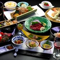 あか牛ステーキ+馬刺しを楽しむ創作会席。熊本の味を贅沢にお楽しみいただけます