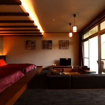 【特別室】露天風呂付◇和洋室一例2ベッド+ソファ、デッキがついた露天風呂付きの特別室です