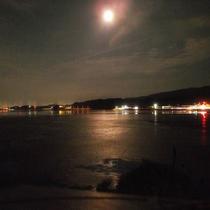 月と松江市街と宍道湖