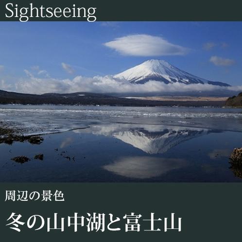 ▼冬の山中湖と富士山