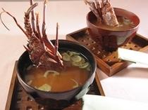 伊勢えびプラン、また別注で伊勢えびご注文のお客様、朝食に伊勢えびの味噌が汁つきます。