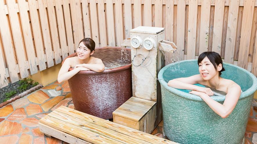 <かたくりの湯・露天風呂>壷湯など、遊び心があふれる自然と調和した露天風呂です。