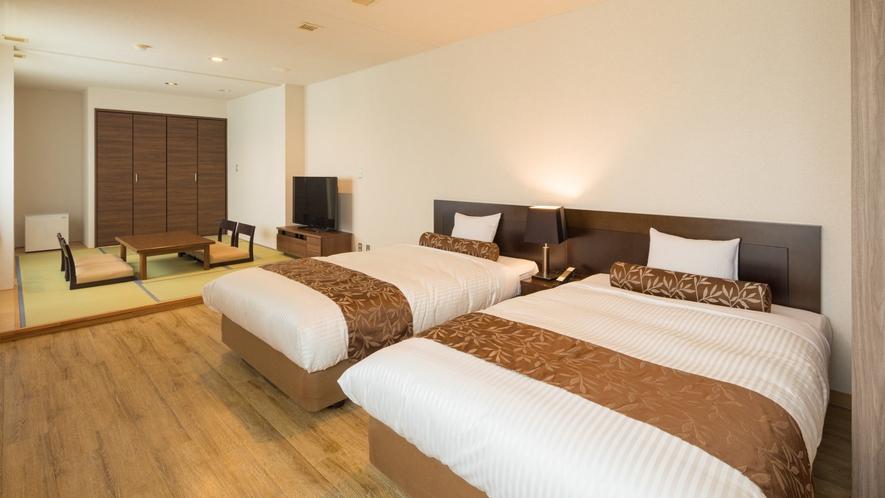 <和洋室>足を伸ばせる畳敷きスペースの付いた和洋室。