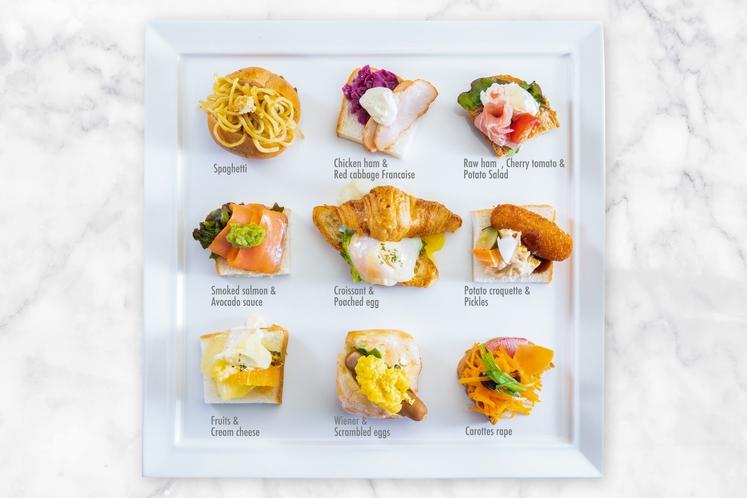 オリジナルサンドウィッチの一例です、豊富なパンと食材で作れるサンドウィッチは無限大!