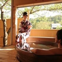 ■【露天風呂付客室】「あ〜極楽!」客室専用露天風呂でのひと時