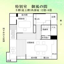 【特別室御風の間】5階角部屋の特別室。相馬御風(そうまぎょふう)の作品を展示しております。
