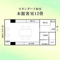 【本館客室】 12畳6名定員のスタンダード和室。