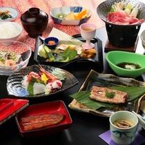 鰻の蒲焼、白焼き、釜飯など、鰻料理がメインの会席料理一例
