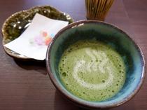 静岡のおもてなし♪ウェルカムドリンクのお抹茶をご用意します。