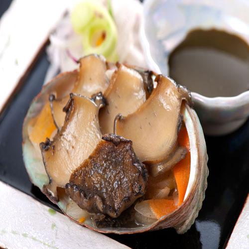 【アワビ】料理一例:鮑肝ソース焼き