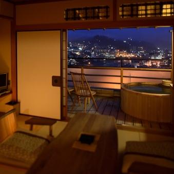 <川のほとり>露天付き客室[禁煙] 絶景ランキング1位の夜景
