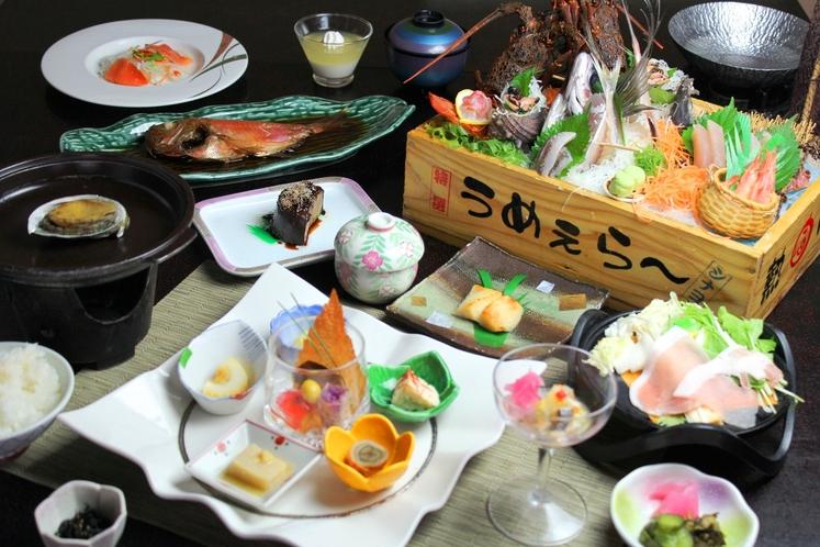 【松】伊勢海老や旬の地魚が入ったトロ箱盛り+金目鯛姿煮付き 豪華会席プラン♪