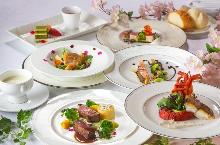 ロブスターや尾張牛フィレ肉と春の味覚を味わうフレンチフルコースディナー