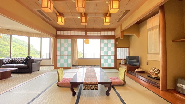 【特別室】和室+次の間+リビング+ツイン+坪庭/95平米