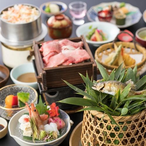 【遊月会席】当館人気の会席料理「魚も食べたいけどお肉もほしい!」どちらかひとつを選べないあなたへおス