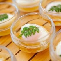 ≪朝食バイキング≫温泉卵は自然の風味一杯のさくら玉子で。