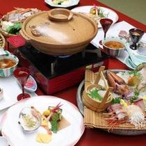 【富山の幸】お肉が苦手な方には海鮮鍋のご用意もございます。味の決め手は延対寺荘特製のお出汁です。