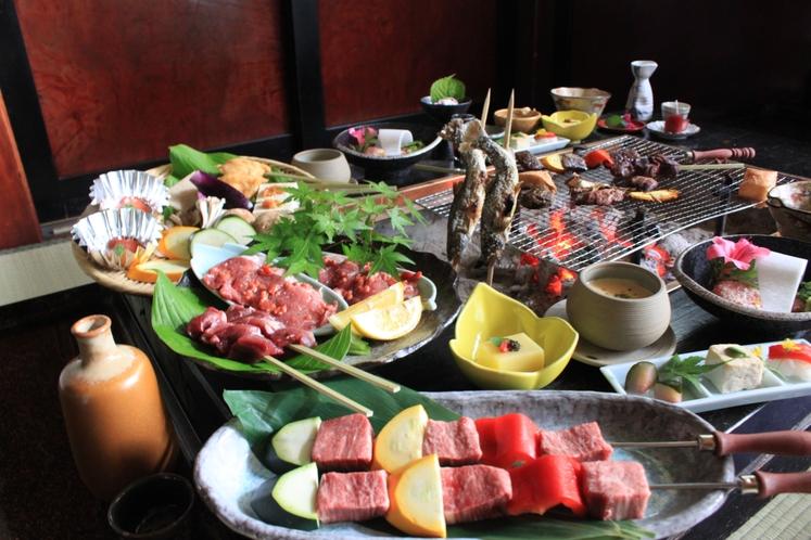 白山麓の三種の肉の味くらべ炭火会席(イメージ)
