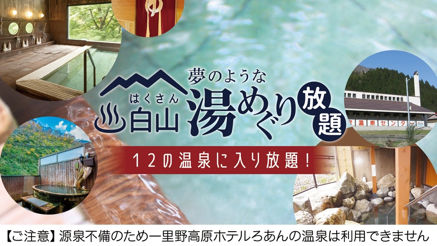 【白山湯めぐり放題特典付き】近隣温泉12施設を無料で利用可能!