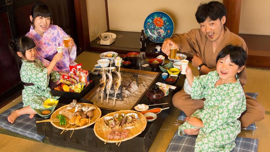 囲炉裏を囲んで家族みんなでワイワイ想い出に残るお食事を!