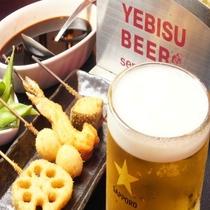 串かつとビール