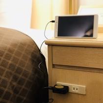 ■コンセント■ 枕元でスマートフォン・タブレットの充電が可能♪