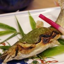 手作り山椒田楽味噌で頂く岩魚は絶品