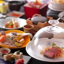 【スタンダード】特撰石焼ステーキ付の当館人気No.1のお料理です。【桜ごよみ会席 桜花爛漫】