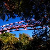 【あやとり橋】徒歩約17分。川床の傍にある曲がりくねったフォトジェニックな赤い高架橋です。