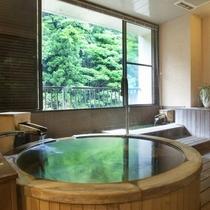 【六庄庵202 風】お部屋のお風呂や足湯はもちろん温泉です。プライベートな湯浴みをお楽しみください。