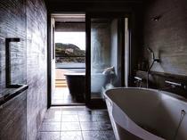 【特別室】リビングのハンモックが人気 露天風呂付客室65平米
