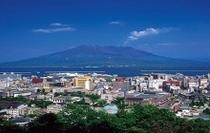 城山から望む桜島と鹿児島市街地