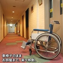 廊下で車椅子