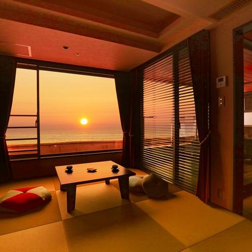 日本海に沈む夕日は幻想的で息をのむ美しさです。
