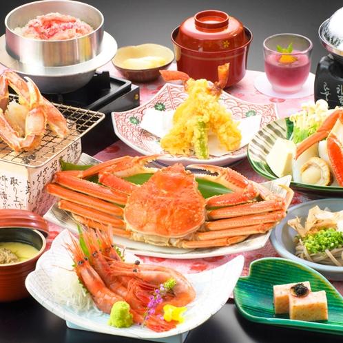 【かにお楽しみご膳】焼き蟹・かに鍋・ゆで蟹など6種類の方法で、かにの旨みをたっぷりご堪能♪