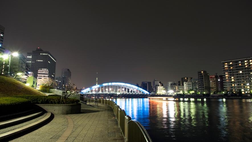 ≪隅田川テラスから永代橋方面≫