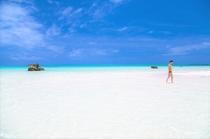 どこまでも続く白い砂浜