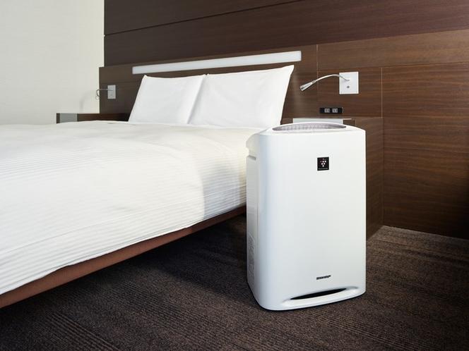 加湿機能付き空気清浄機は全室にご用意しております。