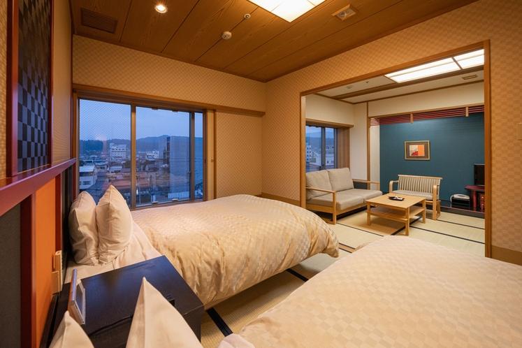 [東館]<優雅>和洋室/10畳+6畳シモンズ製ベッド2台付-禁煙-