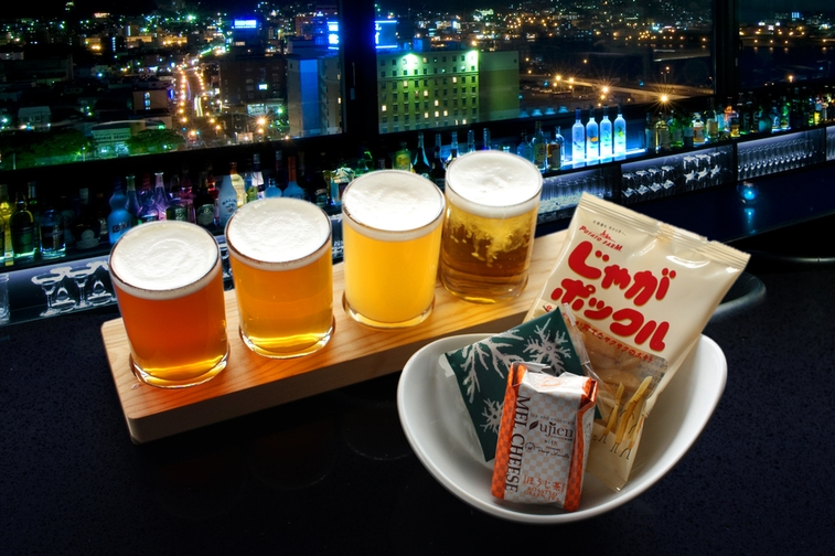 【ご当地ビール4種飲み比べ★】お酒好き必見!ホテル最上階のバーで函館の夜を満喫 <朝食付>