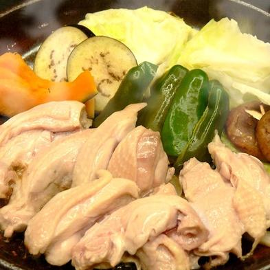 地元上林の平飼い鶏肉をつかった水炊き/すき焼きプラン★ご家族・カップルにおすすめのコースです!