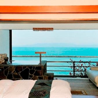 【禁煙】【露天岩風呂付き】海側和室4.5畳&ツインベッド