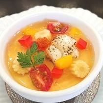 ● 鱧の冷製洋風茶碗蒸し 夏野菜コンソメゼリーがけ ●