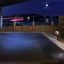 松島温泉「絹肌の湯」大浴場露天風呂 夜景
