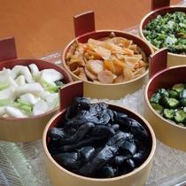 朝食 「宮城の母の味」地野菜のお漬物各種